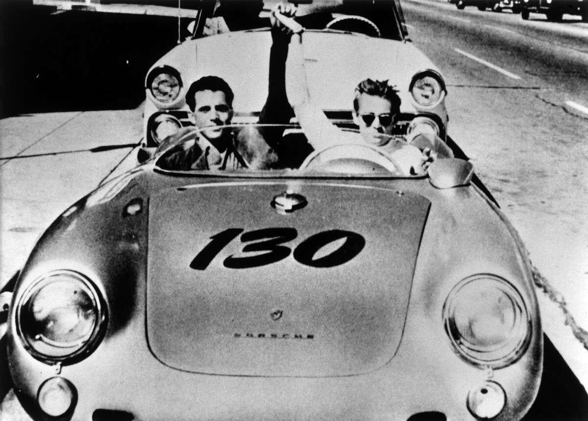 James Dean and Porsche racing mechanic Rolf Wuetherich in Dean's 550 Porsche Spyder nicknamed