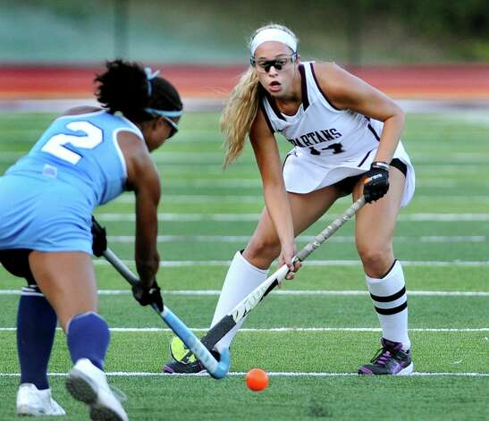 Burnt Hills' Lexie Ball, right, defends against Columbia's Fiona Shea during their field hockey game on Friday, Sept. 25, 2015, at Burnt Hills High in Burnt Hills, N.Y. (Cindy Schultz / Times Union) Photo: Cindy Schultz, Albany Times Union / 10033488A