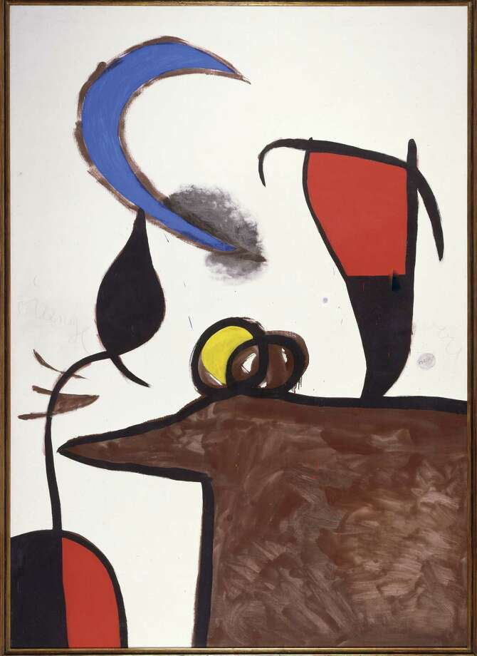 """""""Woman and Bird in the Night"""" is a 1976 oil on canvas by Spanish master Joan Miro that reflects natural themes that ran through the artist's long career. Photo: Courtesy McNay Art Museum"""