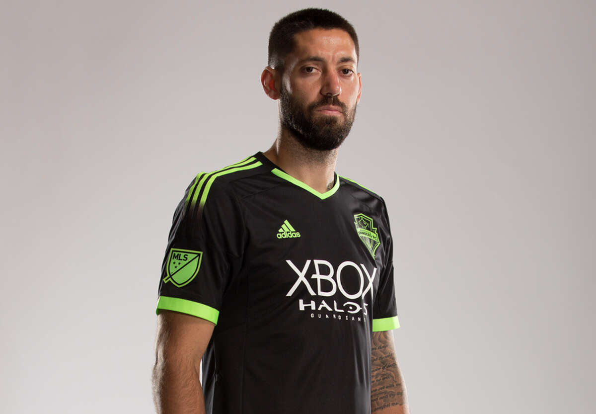 Sounders FC forward Clint Dempsey models the team's new 'Halo'-themed kit.