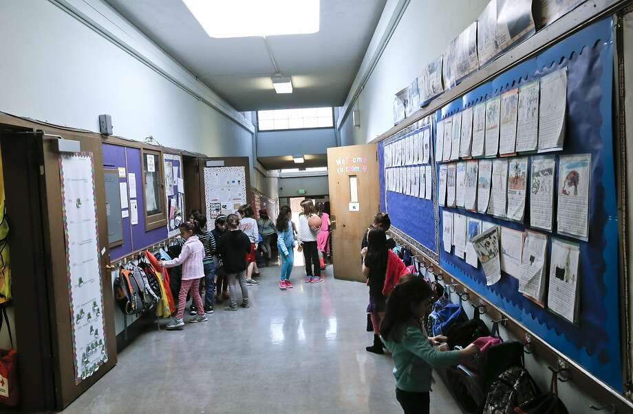 Students fills the hallways as they break for recess at Montclair Elementary School in Oakland. Photo: Michael Macor, The Chronicle