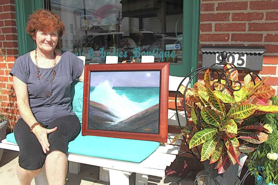 Kathy Golden, a Richmond artist and member of Rosenberg Arts Alliance, is one of the artists who will provide benches for Rosenberg's downtown. One of her ideas is to depict a seascape similar to this scene in one of her paintings. When completed, Golden's bench will be in front of 3rd Street Antique Emporium at 905 Third St.     Kathy Golden, a Richmond artist and member of Rosenberg Arts Alliance, is one of the artists who will provide benches for Rosenberg's downtown. One of her ideas is to depict a seascape similar to this scene in one of her paintings. When completed, Golden's bench will be in front of 3rd Street Antique Emporium at 905 Third St. Photo: Suzanne Rehak, Freelance Photographer