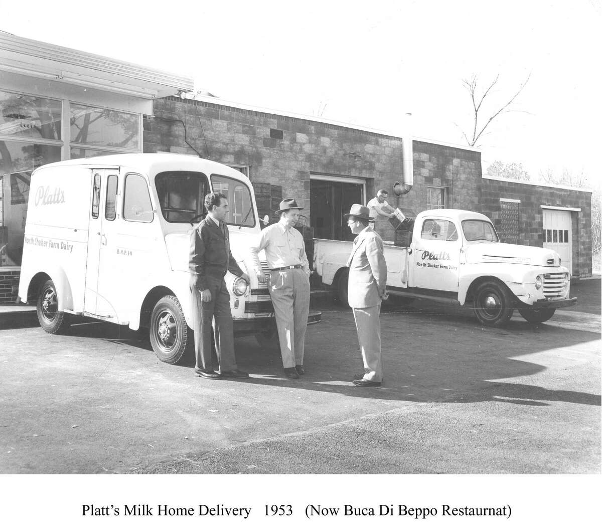 Platt's home milk delivery in 1953. From left, Joseph Pettograsso, Ed Platt, and a Gulf Oil salesman. In the background is Johnny Wiesniewski, loading the truck. (HANDOUT FROM AUTHOR RICHARD J. NAYLOR OF