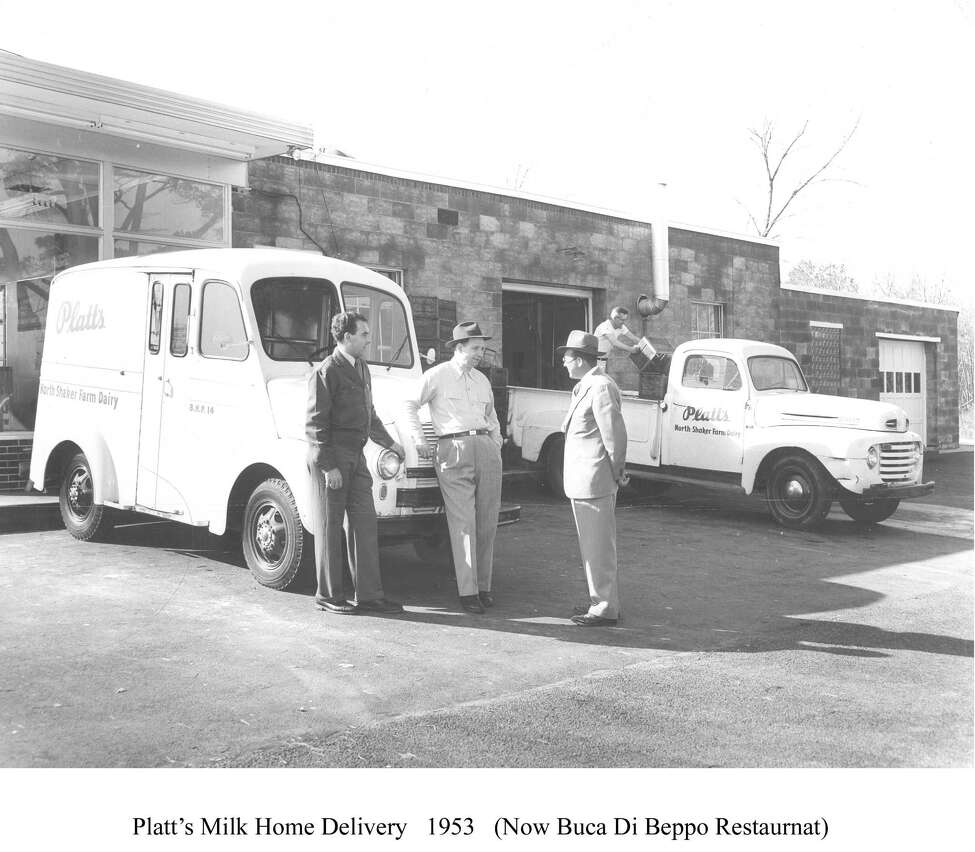 Platt's home milk delivery in 1953. From left, Joseph Pettograsso, Ed Platt, and a Gulf Oil salesman. In the background is Johnny Wiesniewski, loading the truck.(Courtesy Richard J. Naylor) Keep clicking for photos of Wolf Road through the years, including more of the Platt family.