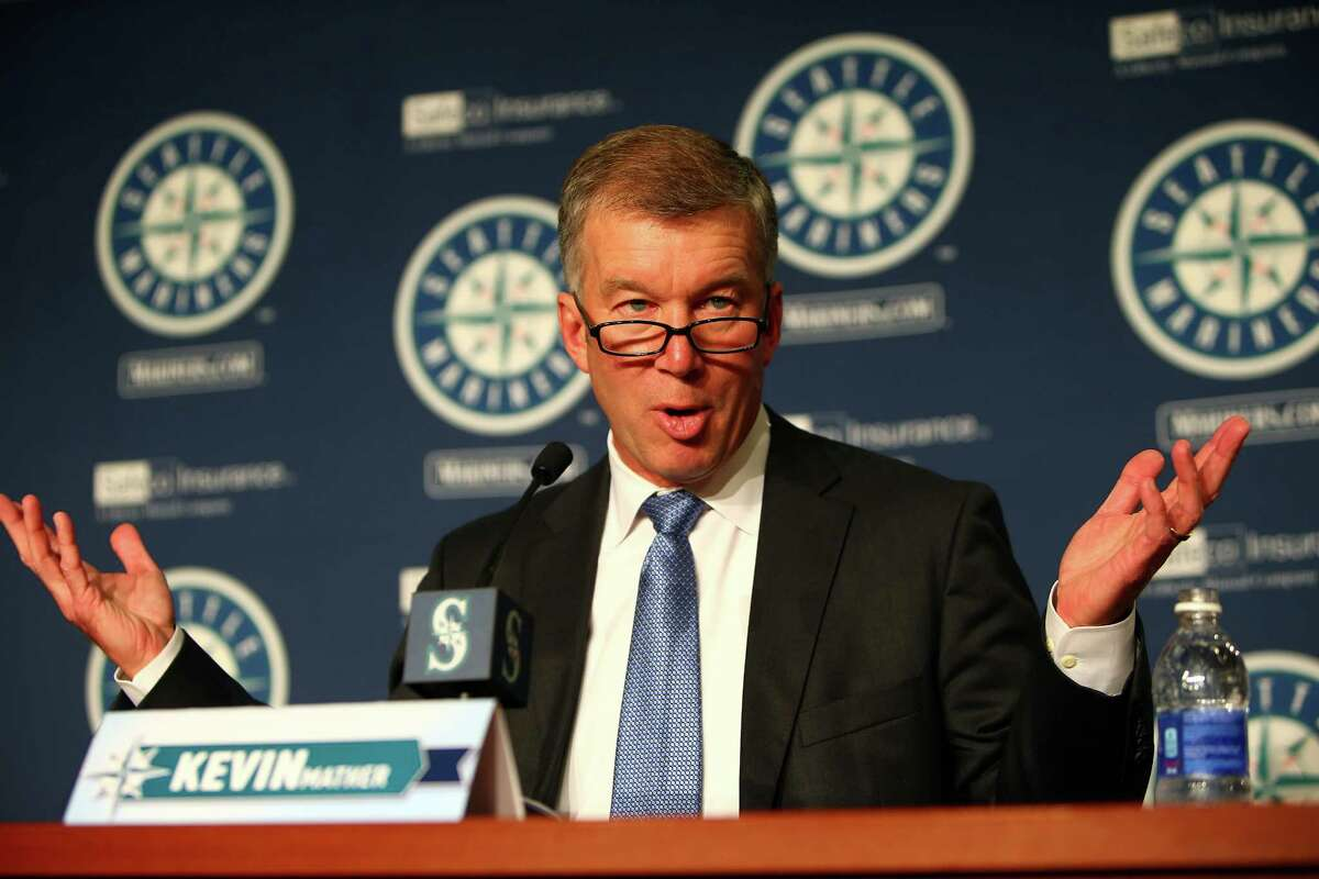 President Kevin Mather introduces Jerry Dipoto as the new Mariners General Manager at Safeco Field. Photographed Tuesday, September 29, 2015.