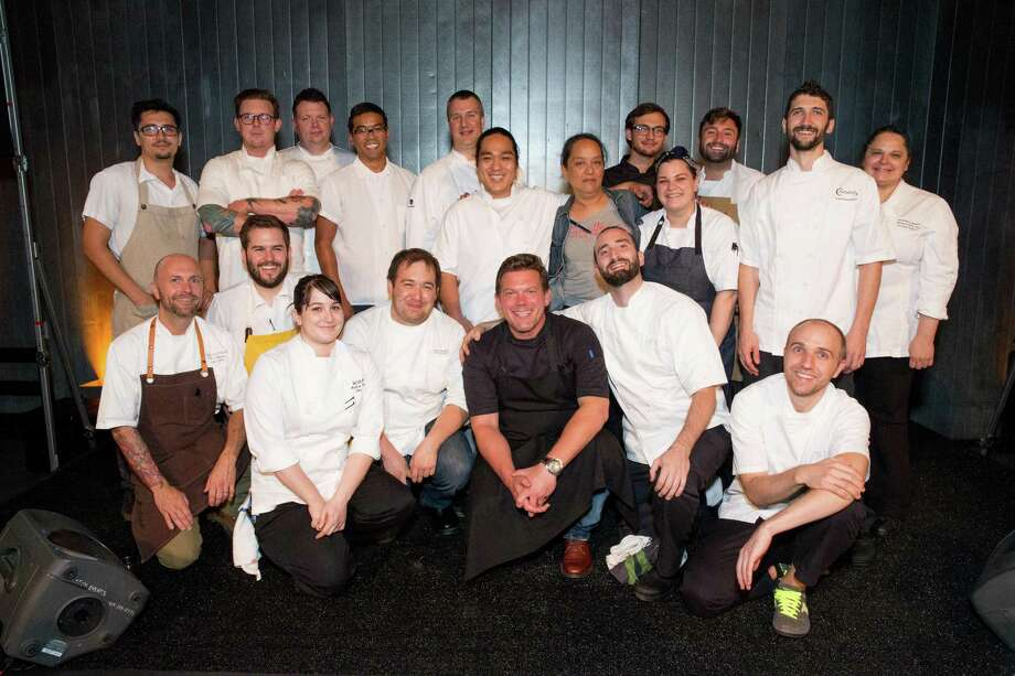 Tyler Florence and the One Big Table Chefs at the One Big Table event benefiting SF-Marin Food Bank on Sept. 26, 2015 at the Food Bank's San Francisco Warehouse. 2015 One Big Table Chefs were from the restaurants A16, Bix, Fog City, Bluestem Brasserie, Boulevard, Causwells, Daniel Patterson Group, Flour + Water, Central Kitchen, Gaspar Brasserie, Hillside Supper Club, Kin Khao, Marlowe, Park Tavern, The Cavalier, Paula LeDuc Fine Catering, Picco, Quince, RN74, Spruce, Stones Throw, The Slanted Door, Town Hall, Wayfare Tavern, and El Paseo. Photo: Drew Altizer Photography / © 2015 Drew Altizer Photography