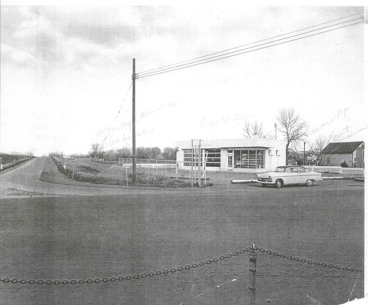 Krug's Shell Gas Station just prior to the construction of the northbound entrance to the Northway at Wolf and Albany Shaker Roads. (Handout from Richard J. Naylor, author of