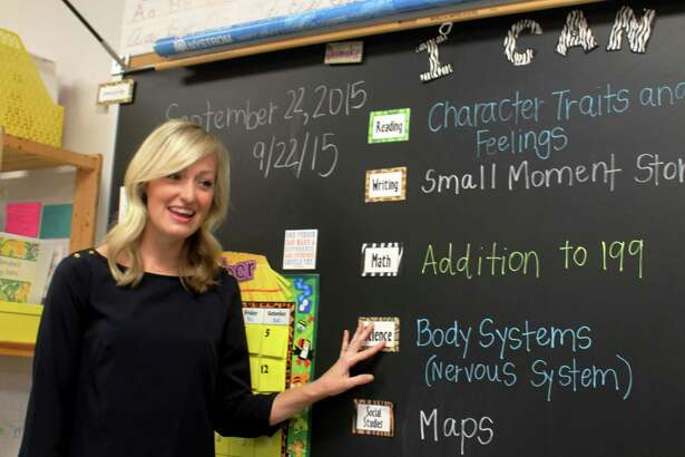 "Christine Dismuke, a Morton Ranch Elementary School second-grade teacher, is a finalist to be Texas Association of School Administrators' elementary teacher of the year. She says she wants to show her class  positive ways to face life's challenges. ""I want to make sure I seem as human as possible to them; so that they understand that we all have struggles, and it's OK,"" she says.          Christine Dismuke, a Morton Ranch Elementary School second-grade teacher, is a finalist to be Texas Association of School Administrators' elementary teacher of the year. She says she wants to show her class  positive ways to face life's challenges. ""I want to make sure I seem as human as possible to them; so that they understand that we all have struggles, and it's OK,"" she says."