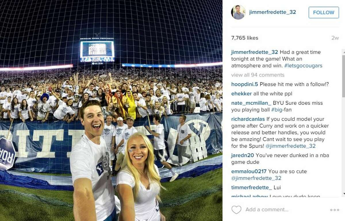 2.Jimmer Fredette One of the newest members of the squad, Fredette, took in sights at Yellowstone and pumped up crowds of soccer fans at a Brigham Young University, his alma mater, with his wife by his side.