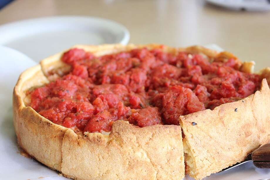 Classic deep-dish pizza made from Chicago pizzeria Mama Rigetta's recipes. Photo: D'Marcos Pizzeria