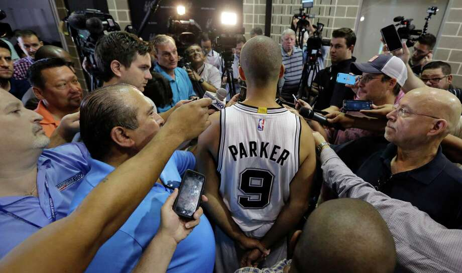 San Antonio Spurs' Tony Parker (9) talks to reporters during media day, Monday, Sept. 28, 2015, in San Antonio. Photo: Eric Gay /Associated Press / AP