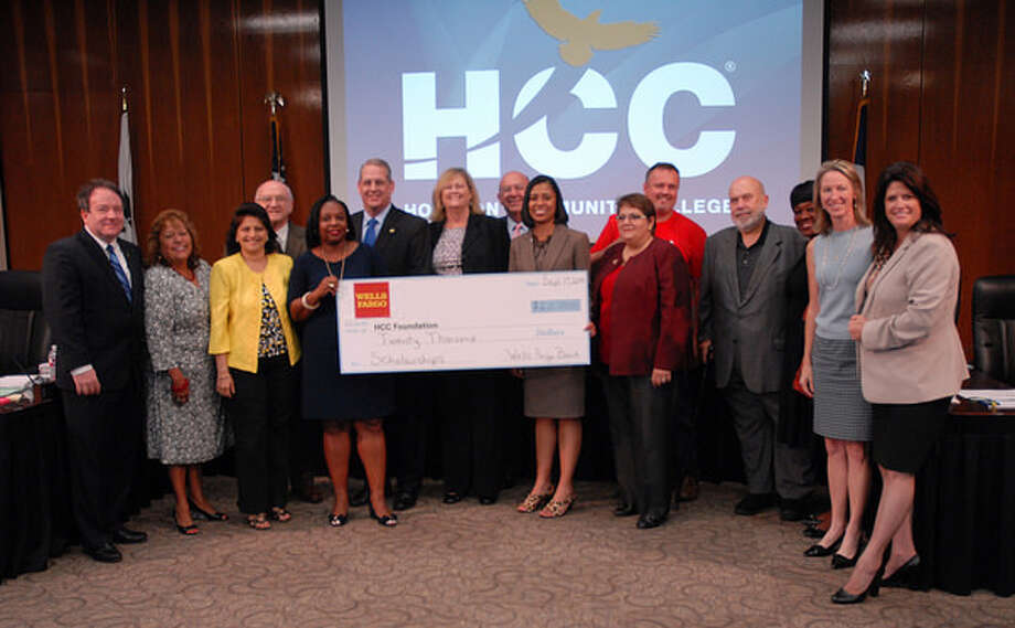 During the Sept. 17 meeting of the Houston Community College Board of Trustees, Wells Fargo Bank presented the HCC Foundation a check for $20,000 to fund scholarships for the HCC bank and teller training program and to establish endowments across the district. Photo: Wells Fargo Bank