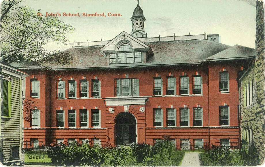 Stamford's St. John's School is seen here in this illustrated photo likely taken from a postcard. The school was located behind the Basilica of Saint John the Evangelist Church on Atlantic Street until it was torn down to make way for redevelopment. Photo: Contributed / Contributed / Stamford Advocate Contributed