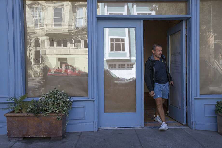 Pascal Rigo heads outside La Boulangerie de San Francisco for his next meeting in the city, Tuesday, Sept. 29, 2015, in San Francisco, Calif. Rigo is reopening several several shuttered La Boulange shops as La Boulangerie. The original Pacific Heights location at 2325 Pine St. will be the first to reopen. Photo: Santiago Mejia, Special To The Chronicle