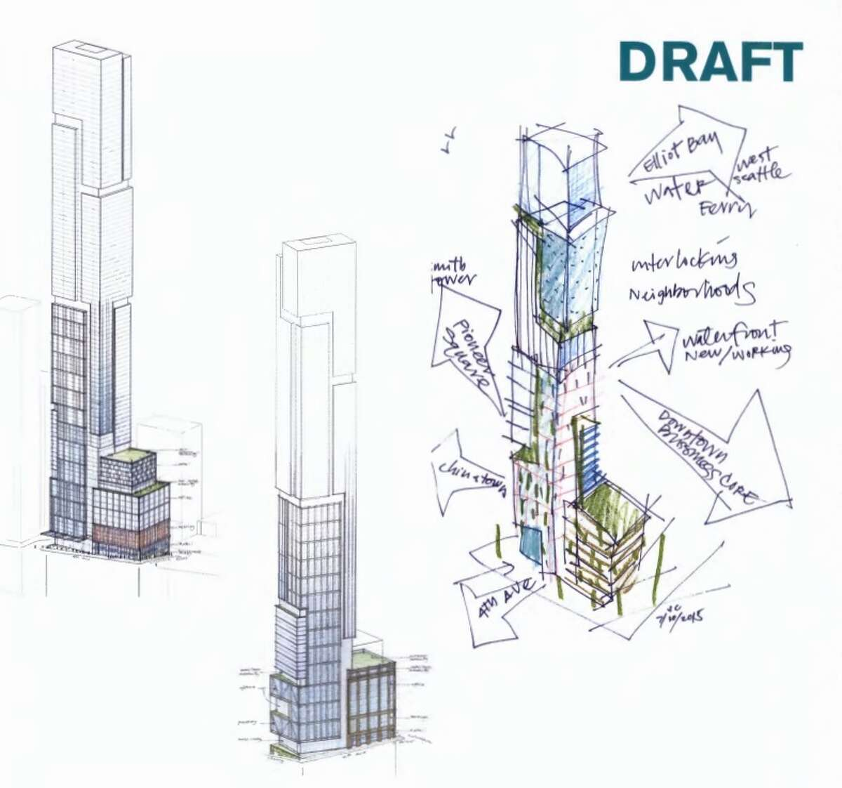 This rendering shows what appears to be a hand-drawn concept of the building alongside some more refined ideas.