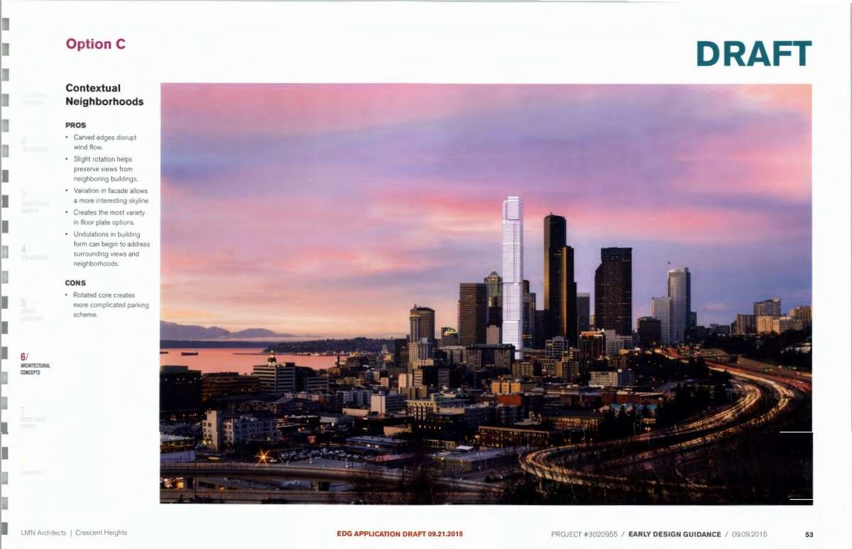 This rendering, pulled from the Early Design Guidance application filed with the city of Seattle, shows what the proposed 102-story tower might look like in the Seattle skyline. In all, the proposal includes 1,200 residential units, 150 hotel rooms, thousands of square feet of office space, retail space and below- and above-ground parking. Because of its height, the project also needs approval from the Federal Aviation Administration.