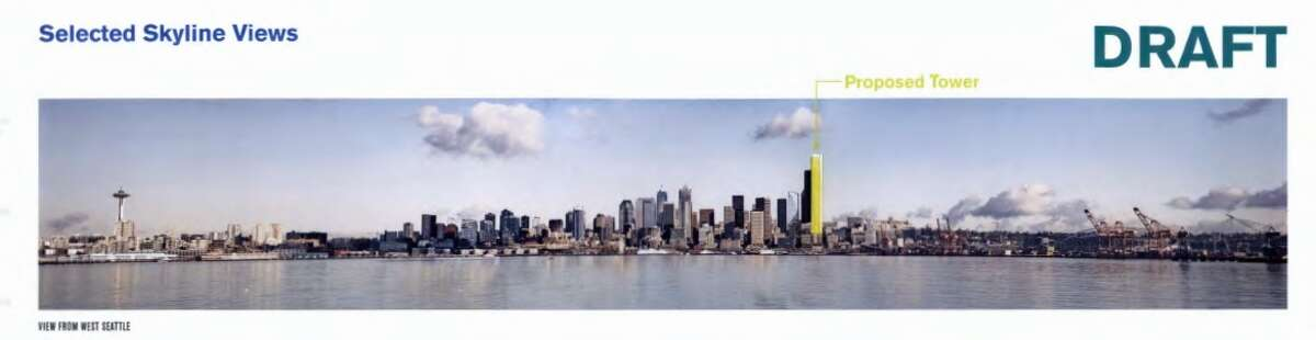 The proposed tower is shown in yellow as it would appear in the Seattle skyline.