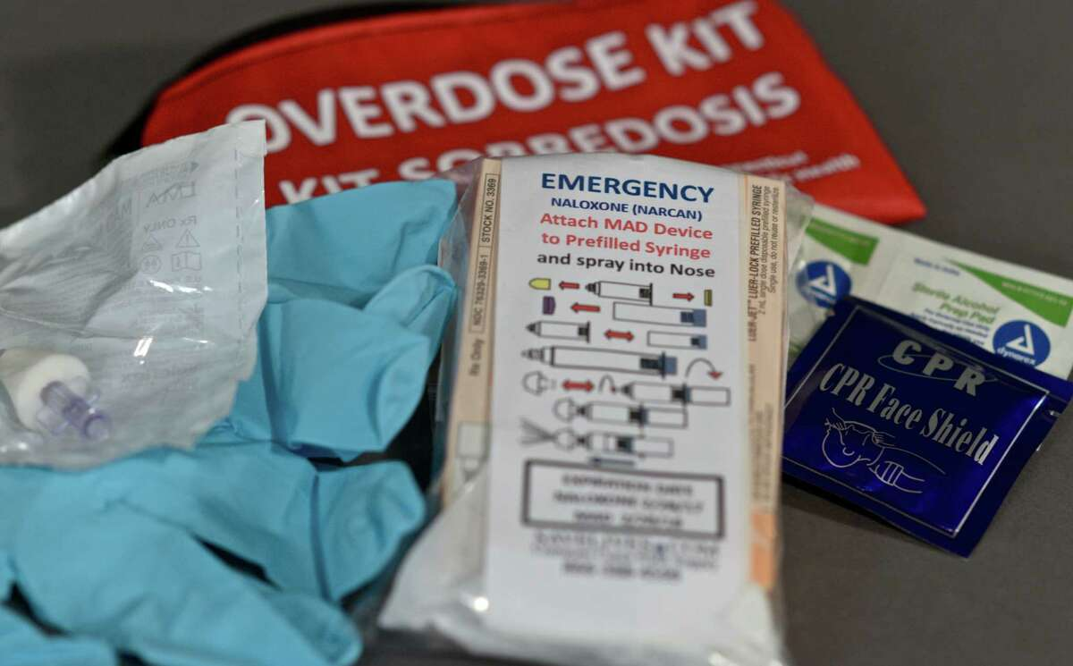 Narcan kits were distributed during a meeting on the overdose-reversal drug Monday night at The Maxx.