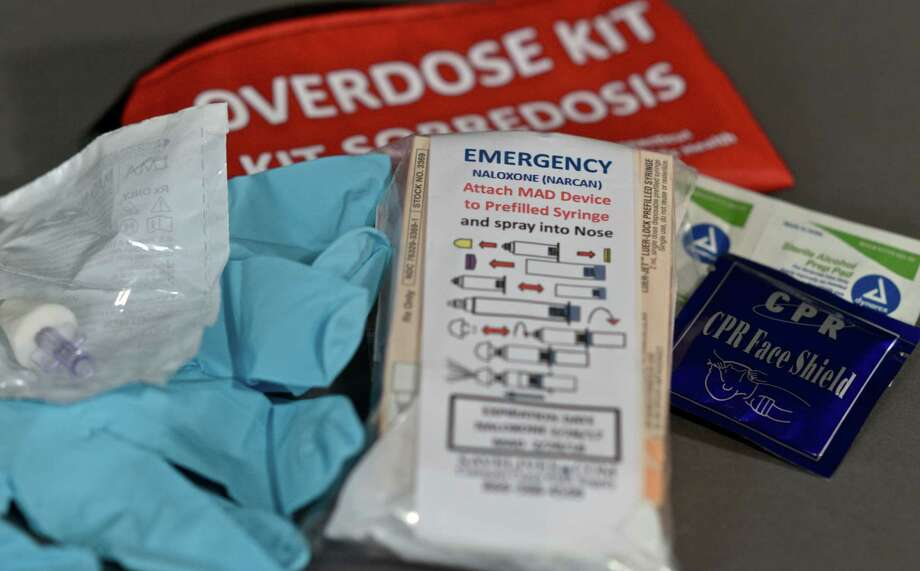 Narcan kits were distributed during a meeting on the overdose-reversal drug Monday night at The Maxx. Photo: H John Voorhees III / Hearst Connecticut Media / The News-Times