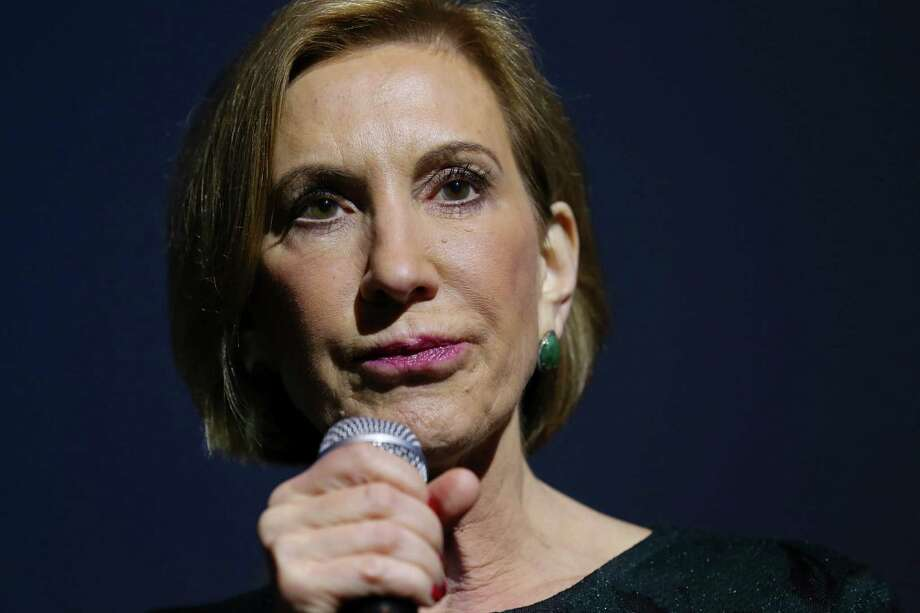 A curtain would fall on presidential hopeful Carly Fiorina during the Women Business Owners conference. Photo: Edward A. Ornelas /San Antonio Express-News / © 2015 San Antonio Express-News