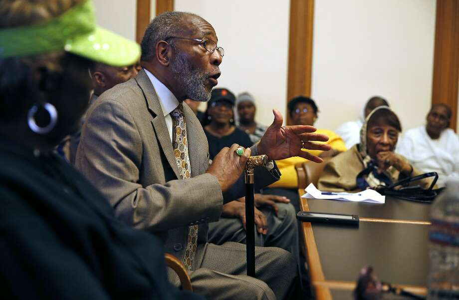 San Francisco NAACP President Amos Brown meets with the Board of Supervisors about racial income disparity in the city. Photo: Scott Strazzante, The Chronicle
