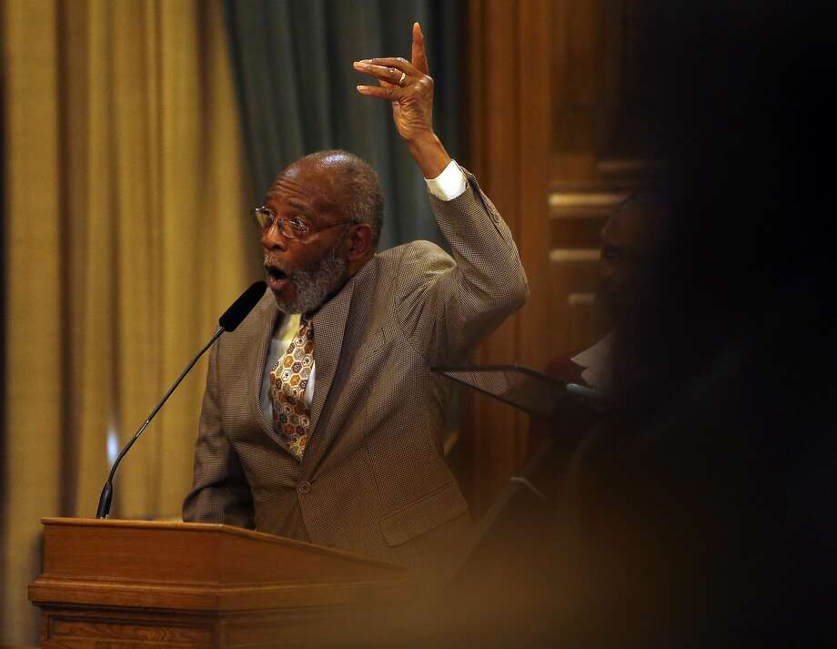 San Francisco NAACP President Amos Brown angrily addresses the income disparity between African Americans and the city's other races at a Board of Supervisors' meeting in City Hall. Photo: Scott Strazzante, The Chronicle