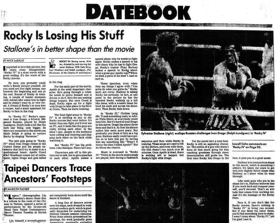 "Nov. 26, 1985: Mick LaSalle's review of ""Rocky IV,"" the critic's first review for The Chronicle. Photo: Chronicle Archives, The Chronicle"