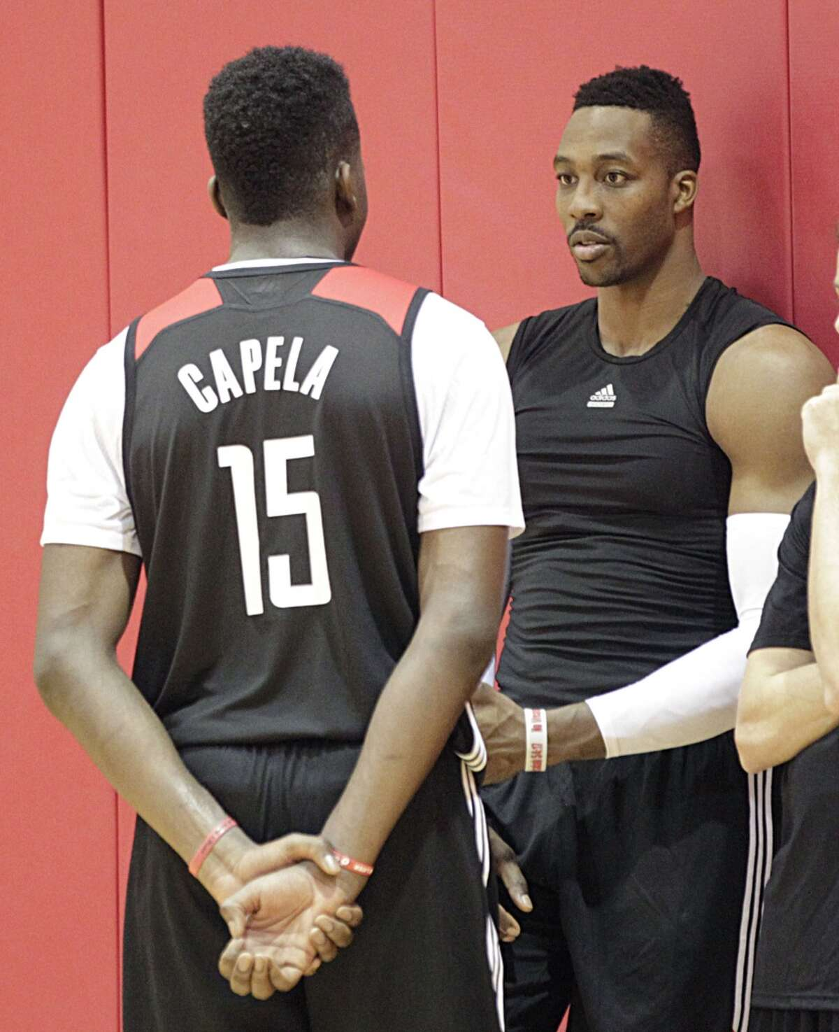 Houston Rockets center Clint Capela left, and Rockets center Dwight Howard right, during the Rockets practice at the Toyota Center Tuesday, Sept. 29, 2015, in Houston. ( James Nielsen / Houston Chronicle )