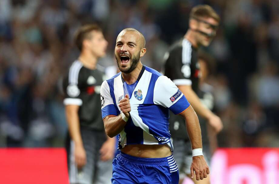 Porto's Andre Andre celebrates after the opening goal of his team's 2-1 victory over Chelsea in Portugal. Photo: Steven Governo, Associated Press