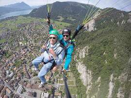 John Cashman, of Sausalito, 2,000 feet over Interlaken, Switzerland.