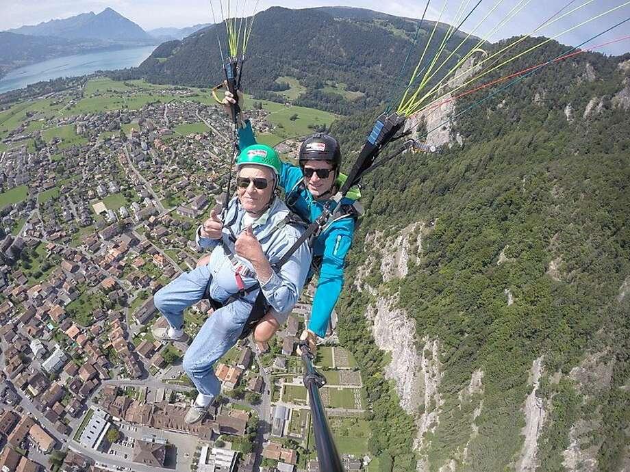 John Cashman, of Sausalito, 2,000 feet over Interlaken, Switzerland. Photo: Courtesy John Cashman