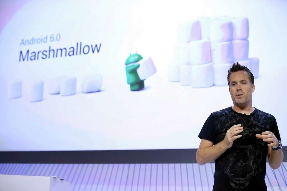 """Dave Burke, Vice President of engineering at Google, speaks about the new Google Android 6.0 Marshmallow software during a Google event on Tuesday, Sept. 29, 2015, in San Francisco Google is countering the release of Apple's latest iPhones with two devices running on """"Marshmallow,"""" a new version of Android software designed to steer and document even more of its users' lives. (AP Photo/Tony Avelar) Photo: Tony Avelar, FRE / FR155217 AP"""