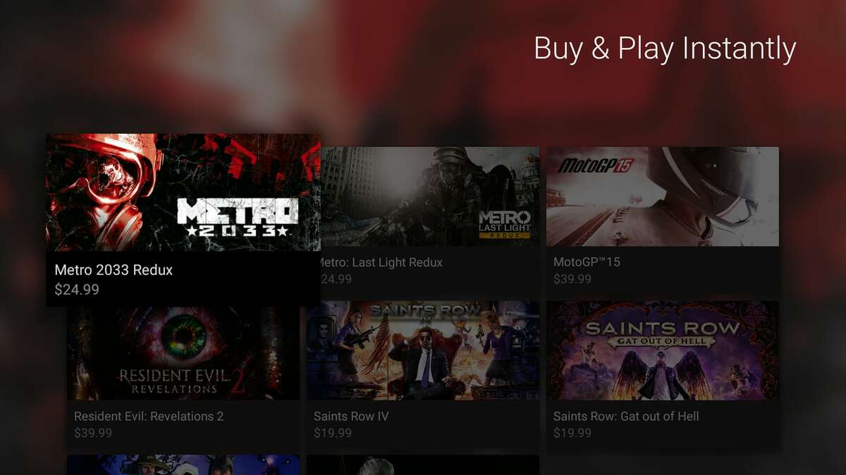 This Nvidia screen shot shows some of the games available to stream on the new GeForce Now network for Nvidia Shield owners