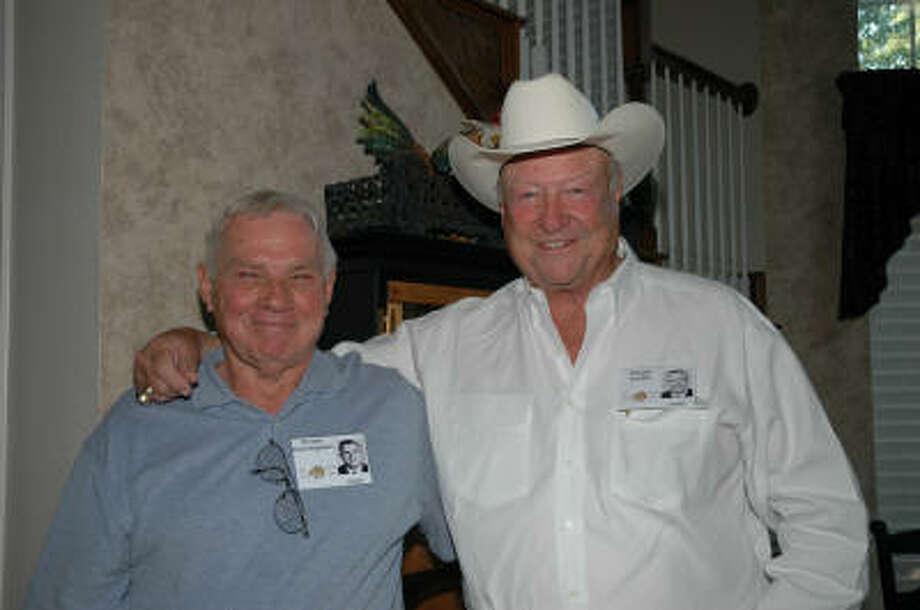Ernie Cunningham and Chuck Curtis at a 1965 Garland High School reunion.