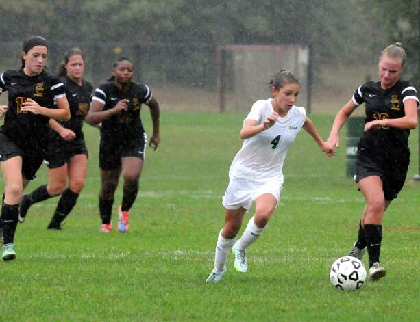 Shen's Emily Davenport and Colonie's Clare Reilly battle for the ball during their girl's high school soccer game on Tuesday Sept. 29, 2015 in Clifton Park  , N.Y.  (Michael P. Farrell/Times Union) Photo: Michael P. Farrell / 00033521A