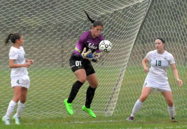 Shen's keeper Jill Shippee makes a save during their girl's high school soccer game against Colonie on Tuesday Sept. 29, 2015 in Clifton Park  , N.Y.  (Michael P. Farrell/Times Union) Photo: Michael P. Farrell / 00033521A