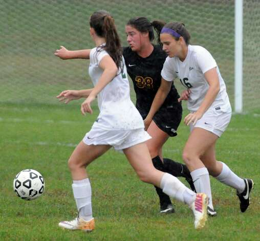 Colonie and Shenendehowa battle it out in a stady rain during their girl's high school soccer game on Tuesday Sept. 29, 2015 in Clifton Park  , N.Y.  (Michael P. Farrell/Times Union) Photo: Michael P. Farrell / 00033521A