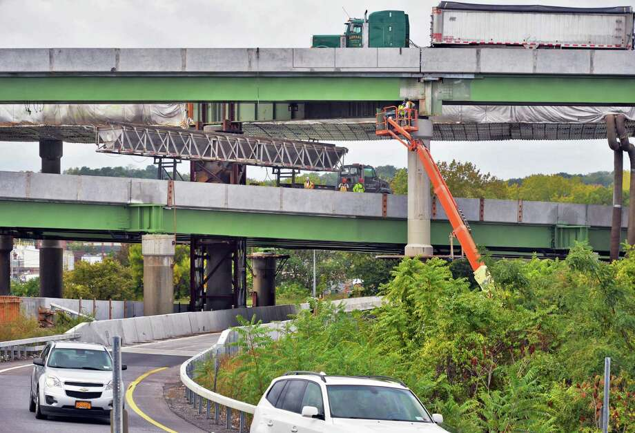 Work continues at the I-90 and I-787 interchange Tuesday, Sept. 29, 2015, in Albany, N.Y.  (John Carl D'Annibale / Times Union) Photo: John Carl D'Annibale / 00033533A