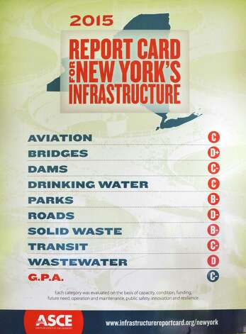 The New York Council of the American Society of Civil Engineers's 2015 Report Card for New YorkOs Infrastructure presented during a news conference Tuesday Sept. 29, 2015 in Niskayuna, NY.  (John Carl D'Annibale / Times Union) Photo: John Carl D'Annibale / 00033533A