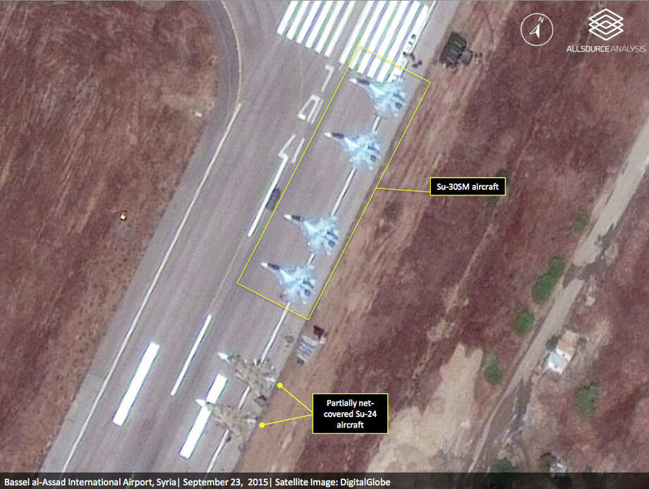 Satellite imagery captured Wednesday and reviewed by All- Source Analysis shows fighter jets and other equipment Rissia has at Bassel al-Assad International Airport in Latakia, Syria. Photo: DigitalGlobe /Associated Press / AllSource Analysis | DigitalGlobe