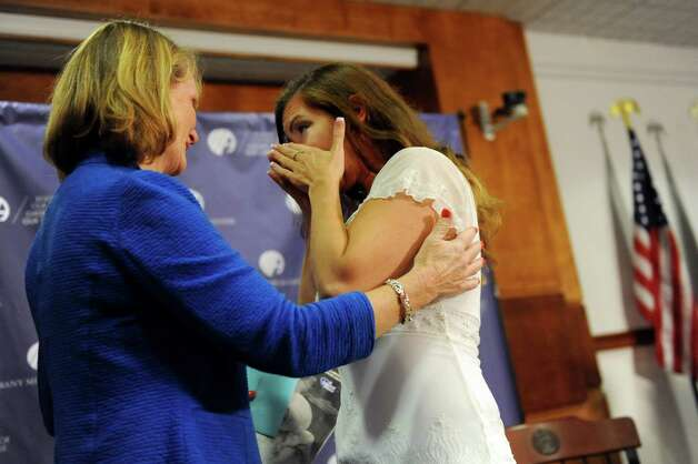 Registered nurse Sue Berger, left, and Amanda Scarpinati of Athens are reunited on Tuesday, Sept. 29, 2015, at Albany Medical Center in Albany, N.Y. (Cindy Schultz / Times Union) Photo: Cindy Schultz / 00033514A