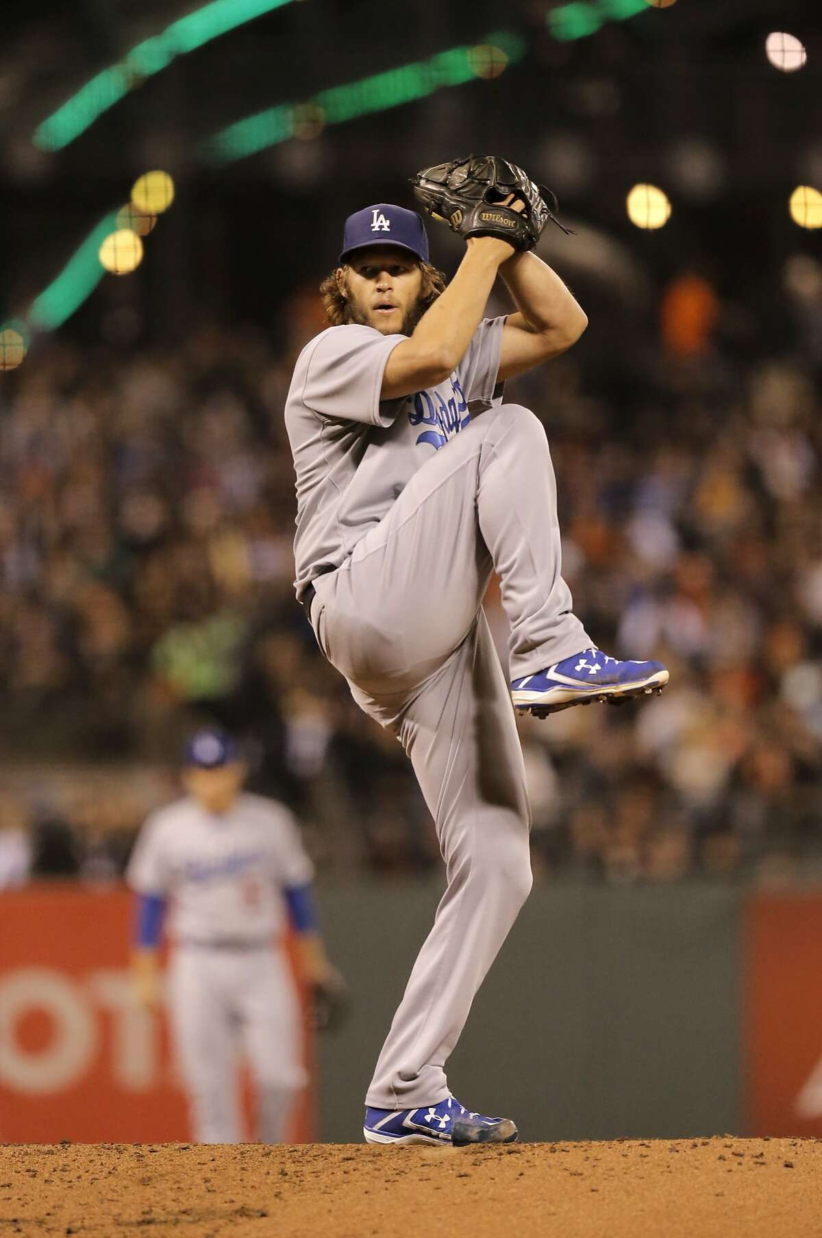 Dodgers' starting pitcher Clayton Kershaw throws in the first inning, as the Giants take on the Dodgers at AT&T Park in San Francisco in Sept. 2015.