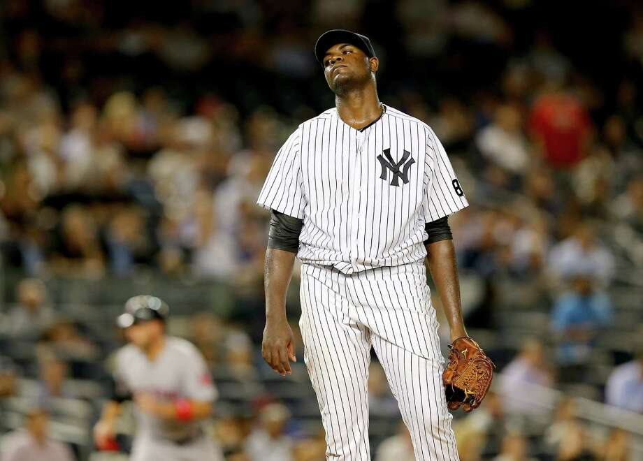 NEW YORK, NY - SEPTEMBER 29:  Michael Pineda #35 of the New York Yankees reacts after giving up a three run home run in the first inning to Blake Swihart of the Boston Red Sox on September 29, 2015 at Yankee Stadium in the Bronx borough of New York City.  (Photo by Elsa/Getty Images) ORG XMIT: 538595833 Photo: Elsa / 2015 Getty Images