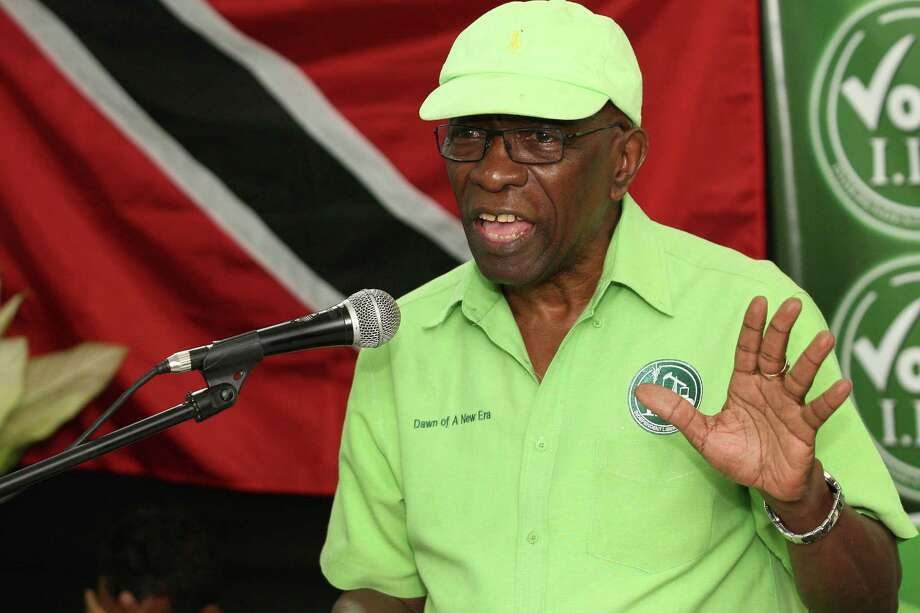 FILE - In this Wednesday, June 3, 2015 file photo, former FIFA vice president Jack Warner speaks at a political rally in Marabella, Trinidad and Tobago. FIFA has banned former VP Jack Warner from football for life on Tuesday, Sept. 29, 2015 in World Cup bidding probe. (AP Photo/Anthony Harris, File) Photo: Anthony Harris, STR / AP