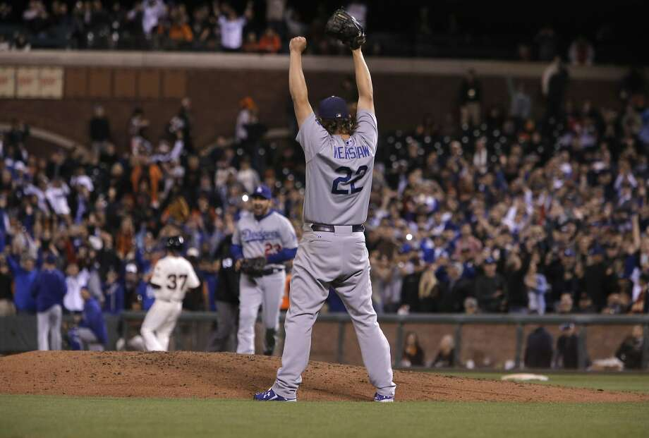 Pitcher Clayton Kershaw celebrates as the Los Angeles Dodgers beat the San Francisco Giants 8-0 at AT&T Park in San Francisco, Calif., on Tues. September 29, 2015. Photo: Michael Macor, The Chronicle