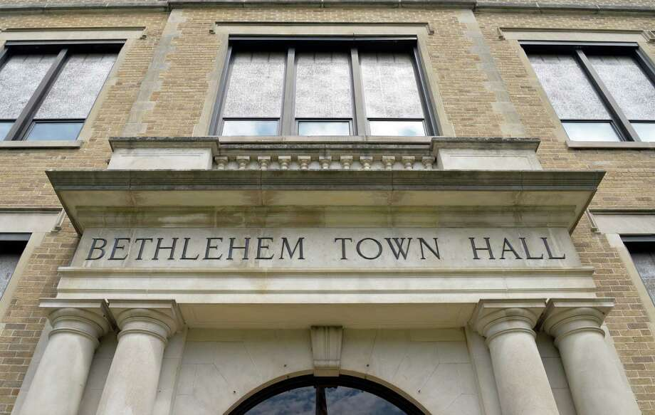 Entrance to Bethlehem Town Hall Thursday, June 5, 2014, in Delmar, N.Y. A female police officer who resigned earlier this year filed a notice of claim against the town, charging sexual discrimination. (John Carl D'Annibale / Times Union archive) Photo: John Carl D'Annibale / 00027219A
