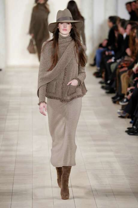 Longer hemlines, a popular fall trend, hit the runway at the Ralph Lauren show. Photo: Antonio De Moraes Barros Filho /FilmMagic / 2015 Antonio de Moraes Barros Filho
