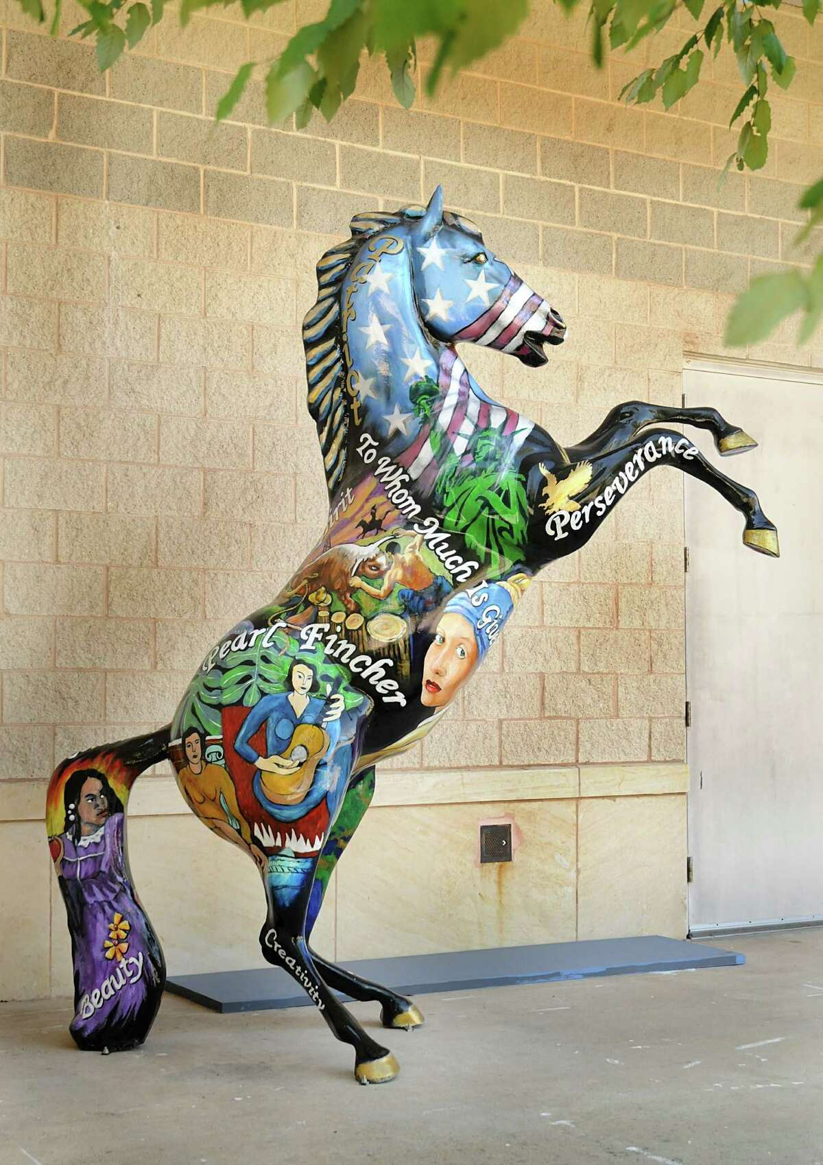 A life-size horse sculpture outside the main entrance to the Pearl Fincher Museum of Fine Arts, 6815 Cypressword Drive in Spring.