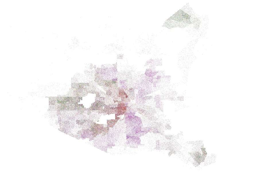 This map from the 2009 general election in Houston shows how spread out support for new candidates can be. Mayor Annise Parker, represented by the red dots, went on to win the race in a runoff with Gene Locke, represented by purple. Photo: John D. Harden, Houston Chronicle