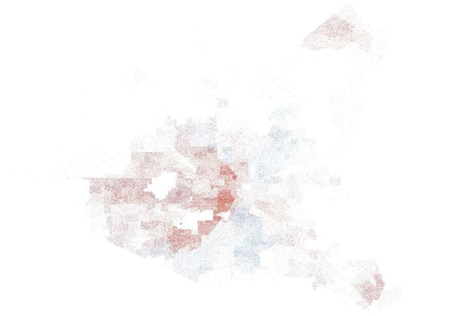 This map represents the final showdown between Mayor Annise Parker, in red, and challenger Gene Locke, in purple. Photo: John D. Harden, Houston Chronicle